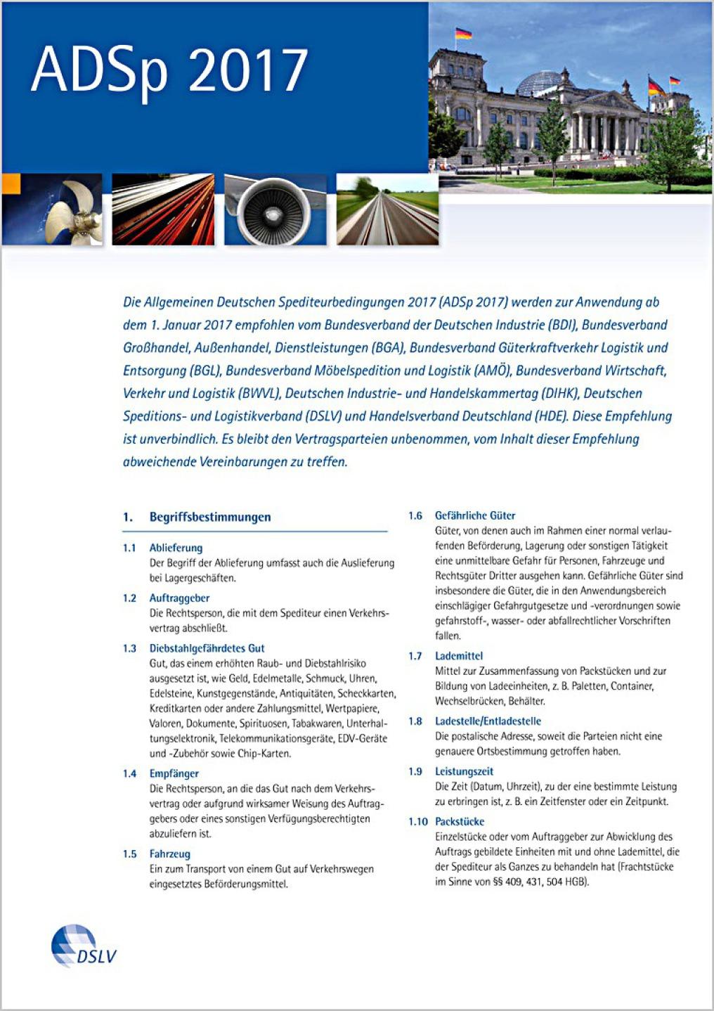 Man sieht die Seite 1 der ADSp, der Allgemeinen Deutschen Spediteurbedingungen.