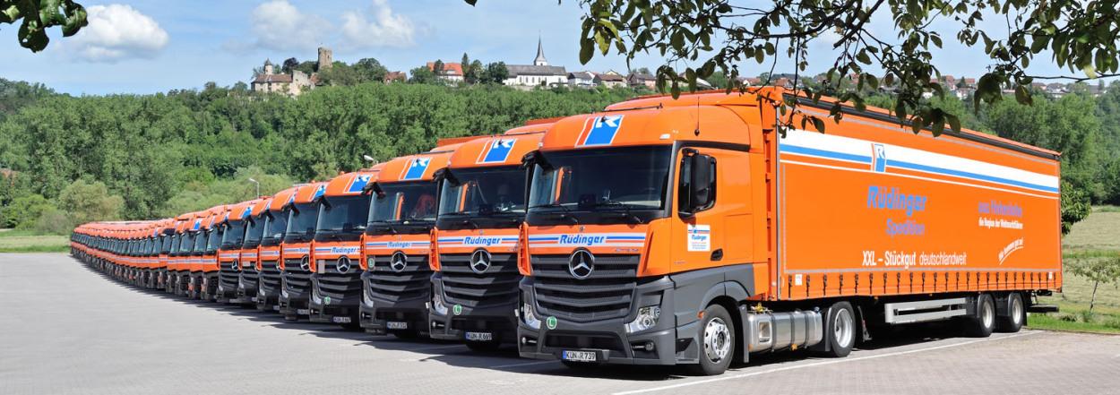Man sieht eine unendlich scheinende Aufstellung von 40-Tonnen-Lkw, alle sind orange. Hinter dem vordersten Lkw ist eine zweite Reihe. Der Himmel ist blau mit Wolken, der Hintergrund ist Natur.