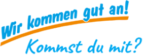 """Der Schriftzug mit den blauen Lettern und dem orangenen Unterstrich: """"Wir kommen gut an!"""""""