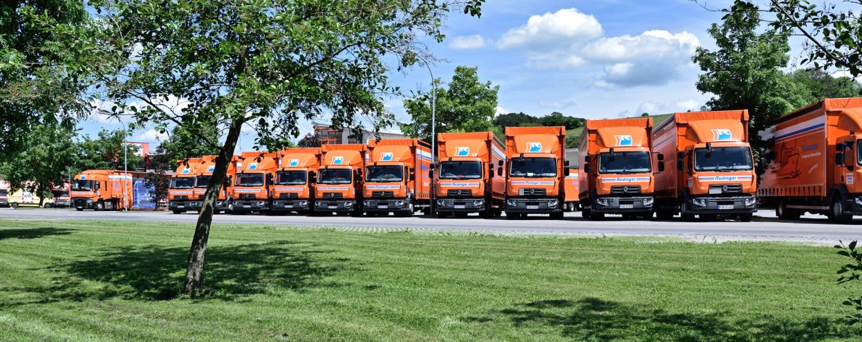 Ein orangener 12-Tonnen-Lkw steht am Rand einer Wiese vor einem Wald auf Betriebshof und dort am Rand. Die Sonne scheint, der Himmel ist blau mit Wolken, das Gras und die Bäume sind satt-grün.