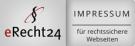 Man kann das Logo von eRecht24 sehen. Es ist ein kleines blau/weißes Logo mit einem Paragraphen-Piktogramm oben.