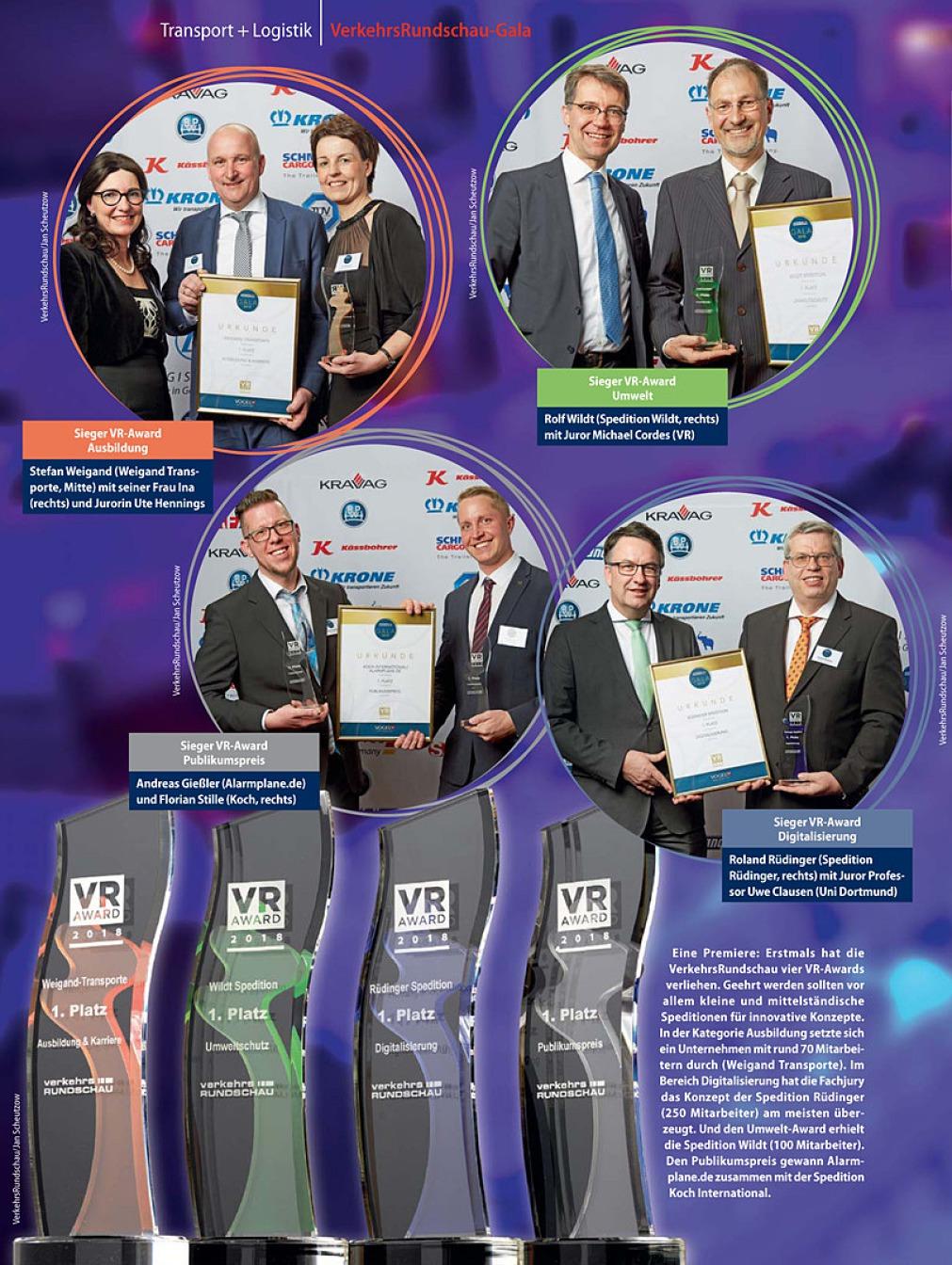 Die Innenseite einer Zeitschrift – der VerkerhsRundschau in Lila-Tönen besteht in den oberen zwei Dritteln aus vier Kreisen, die 9 Preisträger mit Ihren Urkunden und Awards abbilden. Darunter sind die 4 Awards groß abgebildet.