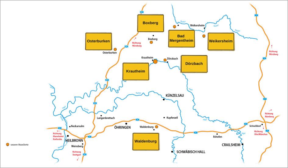 Man sieht eine Karte die von Bad Mergentheim bis Heilbronn und Rothenburg reicht. Es ist ein weißer Grund und die Gewässer sind blau. Städte sind rot und ein hellgrünes Pastell markiert die Region Hohenlohe.
