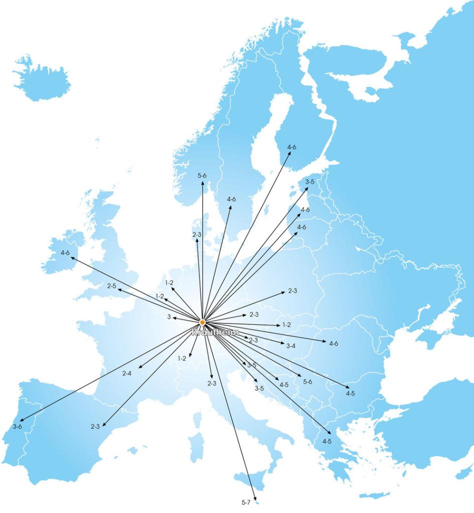 Eine Karte symbolisiert die Ziele der Spedition in Europa. Das Meer ist weiß dargestellt, Land grau. Es sind unzähligen rote Quadrate zu sehen, und Schriftzüge von Städten in Europa. Ein Stern aus roten Linien geht von Krautheim ab.