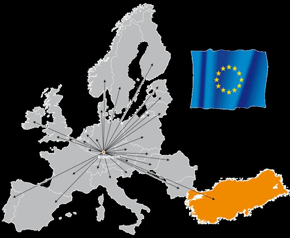 Man sieht eine Illustration: Auf der Karte sind die Länder grau, die Türkei orange und es gibt eine wehende Europaflagge. Pfeile gehen von Krautheim in alle aufgeführten Länder.