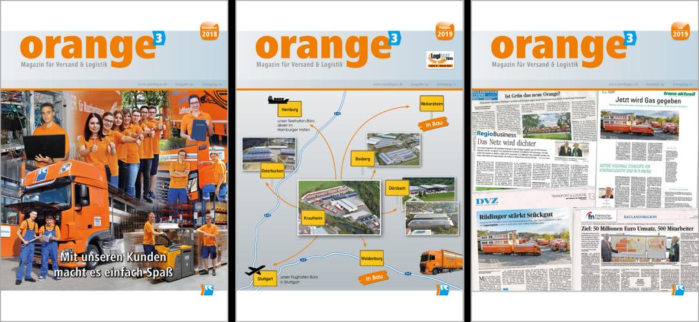 """Man sieht 3 Ausgaben der Hauszeitschrift """"Orange hoch Drei"""" nebeneinander. Auf der ersten ist ein Motiv zum Thema """"Zoll"""", auf der zweiten sieht man das Lager Osterburken, auf der dritten ein Tablet mit Speditionssoftware."""