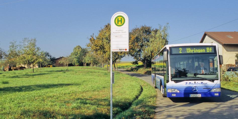 Links im Bild ist eine Wiese mit Bäumen, in der rechten Seite verläuft eine Straße zum Betrachter. Auf ihr, an einer Haltestelle, steht ein blauer Bus, in dem man den Fahrer erkennt. Der Bus ist blau.