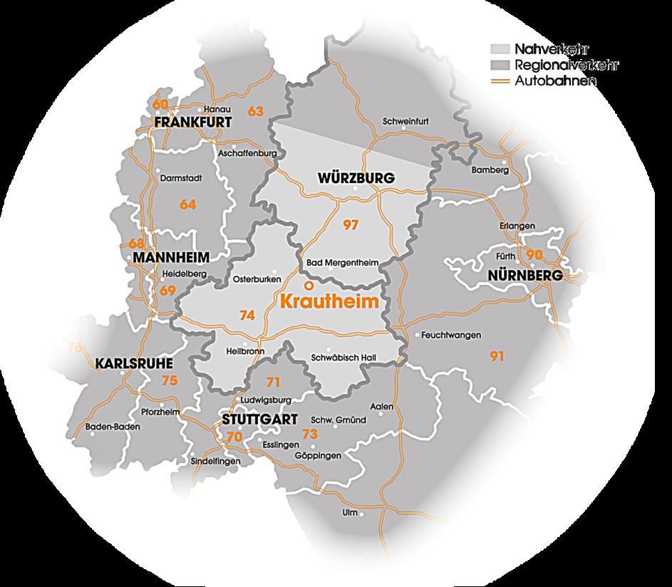 Eine Karte in verschiedenen Grautönen zeigt die Umgebung von Krautheim bis hinunter über Stuttgart hinaus und bis Frankfurt am Main. Verschiedene Städte sind durch Schriftzüge dargestellt, Krautheim am größten und orange.
