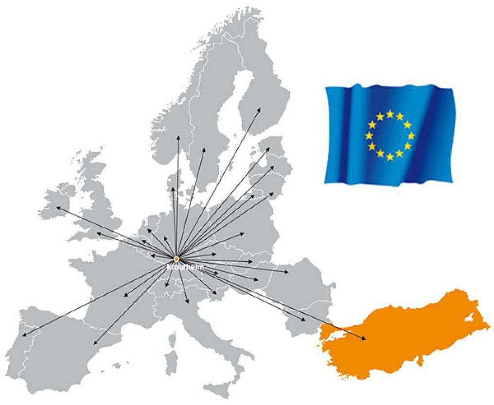 Es ist eine Karte mit einer Fläche für Europa und weißen Meeresbereichen, auf der die Türkei orange eingebunden ist. Pfeile gehen ab Krautheim in alle dargestellten Länder.