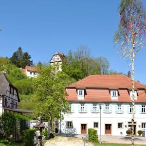 Man sieht das Heimatmuseum in Buchenbach, dahinter sind sommergrüne Bäume, der Himmel ist blau und wolkenlos