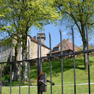 Durch ein historisches Gitter hindurch fotografiert sieht man einen Teil des Schlosses Waldenburg. Unten ist hellgrüner Rasen.