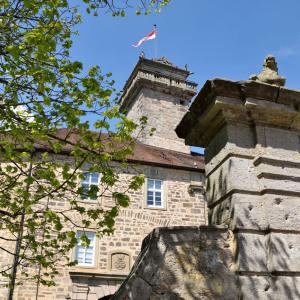 Man blickt am Schloss entlang in die Höhe zu Turm und Fahne, die im Wind weht. Sie ist rot-weiß, der Himmel ist blau.