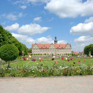 Man sieht das Schloss Weikersheim von einem weit entfernten Punkt im dahinterliegenden Garten aus. Viele Blumen sind zu sehen, der Himmel ist blau mit weißen Wolken.