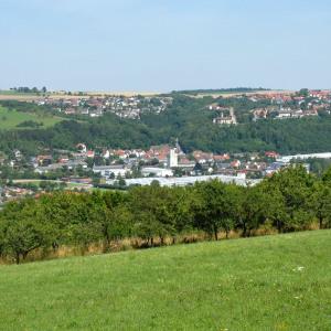 Man sieht von einer Anhöhe aus hinunter nach Krautheim. Vorne ist Wiese oben ist blauer Himmel.